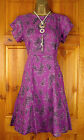 NEW WHITE STUFF DRESS PURPLE BLACK FLORAL SUMMER TUNIC TEA VINTAGE 50s STYLE