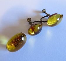 Vintage Golden Honey Amber Poured Glass Lapel Pin Brooch and Screw Post Earrings