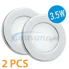 2x12v LED Down Light Ceiling Lamp Cool White Frosted PC Caravan Interior Marine