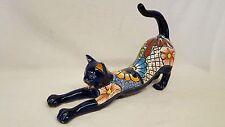 """LARGE 17"""" Talavera CAT KITTY KITTEN Handmade Mexican Pottery Ceramic BLUE Gato"""