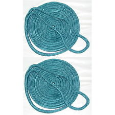 2 Pack of 1/2 Inch x 25 Ft Teal Double Braid Nylon Mooring and Docking Lines
