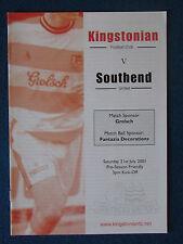 Kingstonian v Southend United - Pre Season Friendly Programme - 21/7/2001