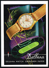 1950's Vintage Delbana Automatic Watch Mid Century Modern Modernist Art Print AD