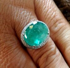 BIG 8.05CT NATURAL COLOMBIAN EMERALD & DIAMOND 10K WHITE GOLD RING