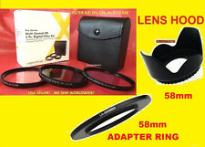 RING ADAPTER+FILTER KIT+LENS HOOD for CAMERA FUJI FINEPIX S8600 58mm CPL,UV,FDL