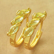 Authentic Yellow Gold Filled Apple Green CZ lucky Womens small Hoop Earrings
