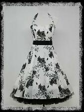 dress190 WHITE HALTER NECK FLORAL 50s ROCKABILLY SWING VINTAGE PARTY DRESS 8-10