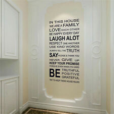 Family Rules Words Removable Vinyl Decal Mural Home Decor Quote Wall Sticker