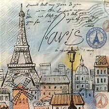 4 Paper Napkins Decoupage Parisian Postcard Eiffel Paris Luncheon Craft Blueink