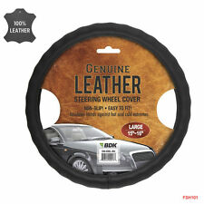 New Premium Genuine Leather Car Truck Black Steering Wheel Cover - Large Size