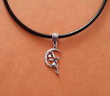 Black Leather Choker Necklace with Silver Moon Fairy Charm - New - UK Seller