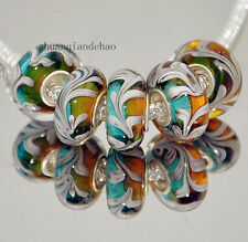 5pcs MURANO Lampwork charm Beads fit 925 silver European Bracelet Chain a527