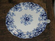 UNUSUAL RIDGWAY BLUE & WHITE WARMING PAN PLATE 1838-48