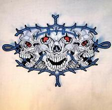 large JUMBO TRIPLE SKULL BARBED WIRE JACKET BACK PATCH JBP21 EMBROIDERED