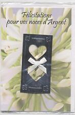NEUF CARTE NOCES D ARGENT + ENVELOPPE !! 10 CARTES ACHETEES = PORT GRATUIT