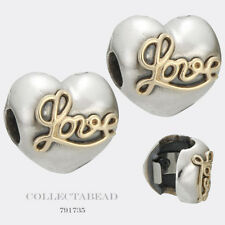 Authentic Pandora Sterling Silver & 14K Heart of Love Clips  (2) 791735