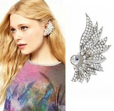 Modern Popular Full Rhinestone Feathered Wing Cuff Clip Left Ear Stud Earring