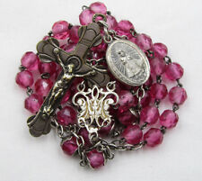 † ANTIQUE HALLMARKED HOT PINK ROSARY & STERLING INFANT OF PRAQUE MEDAL CHARM †