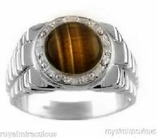 Mens Tigers Eye and Diamond Ring 14K White Gold Role X Design