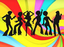 DISCO DANCERS PEOPLE SILHOUETTE EDIBLE WAFER PAPER CAKE DECORATION IMAGE TOPPER