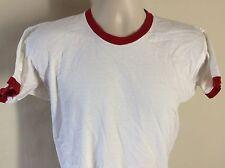Vtg 70s Champion Brand Blue Bar Ringer T-Shirt White M/L Blank 100% Cotton