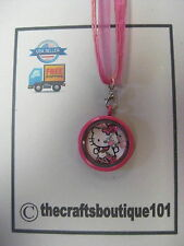 Hello Kitty Pink Round Living Floating Locket Charm Necklace LL101