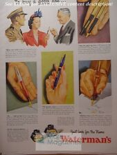 RARE 1943 Esquire Advertisement AD WATERMAN's Fine Pens and inks!