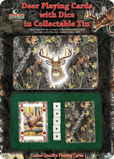 Deer Playing Cards with Dice in Collectable Tin Mossy Oak Break-up 2 Decks NIP