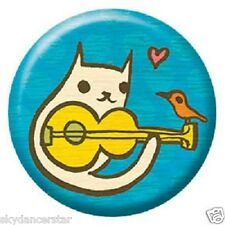 CAT PLAYING GUITAR BUTTON PIN HELPS FEED SHELTER FERAL CATS DONATION RESCUE