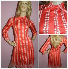 VINTAGE 60s 70s RED WHITE HOUNDSTOOTH DAGGER COLLAR DAY DRESS 8-10 1960s 1970s