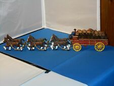 "Vintage Cast Iron Horse Drawn Beer Keg Wagon Toy! 26"" Long!"