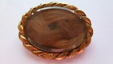 Antique Victorian Memorial Mourning Loosely Woven Hair Art Pin Brooch Jewelry