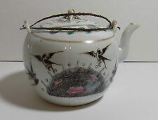 Chinese Antique Porcelain Teapot Tongzhi Mark Metal Handle Bird Butterfly Flower