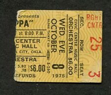 1975 Frank Zappa & The Mothers concert ticket stub Oklahoma City Bongo Fury