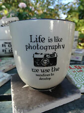 "LAFINESSE BECHER GROß KAFFEE TEE ""LIFE IS LIKE PHOTOGRAPHY"" KERAMIK VINTAGE"