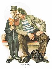 "Norman Rockwell book park bench reading print: ""THE INTERLOPER"" 11""x15"" vintage"