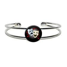 Drama Comedy Tragedy Masks Acting Theatre Theater - Silver Plated Cuff Bracelet