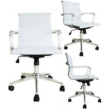 WHITE Modern Design Ribbed Low Mid Back PU Leather Office Chair Conference Room