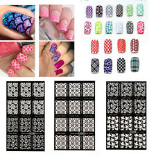Nail Art Stencils Vinyl Hollow Stickers Decal Manicure Tips Stamp Template Decor