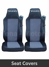 2 x VOLVO FH12 FH16 FL FM Seat Covers Tailored HGV Truck Lorry Black / Grey