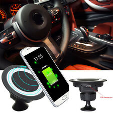 Qi Wireless Charger Dock Magnetic 360 Rotating Mount Car Holder for Samsung