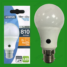10W = 60W LED GLS Dusk Till Dawn Sensor Security Night Light Bulb BC B22 Lamp