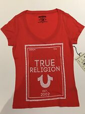 TRUE RELIGION WOMEN REFLECTIVE CRYSTAL GRAPHIC TSHIRT AZALEA RED VNK NWT M $78