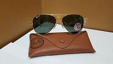Ray-Ban Polarized Aviator Green Lenses w/ Gold Frame Unisex Sunglasses