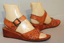 6.5 NOS BROWN WOVEN LEATHER Vtg 70s WOOD WEDGE HEEL HIPPY BOHO SANDAL NEW Shoe