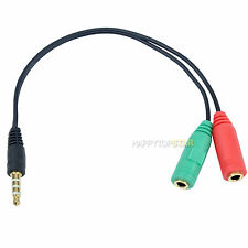 3.5mm Stereo Plug to 3.5mm Mic & Headset Jack Adapter fr Tablet Phone MP4 Laptop
