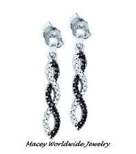 14K WHITE GOLD TWILIGHT BLACK & WHITE DIAMOND STUNNING INFINITY DANGLE EARRINGS