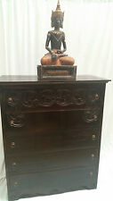 Bali Teak Wood Furniture Hand Carved Chocolate Brown Tall Boy Chest Of 5 Drawers