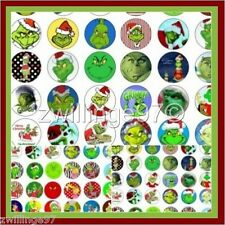 100 Precut HOW THE GRINCH STOLE CHRISTMAS BOTTLE CAPS IMAGES 1 inch discs