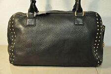 Vintage Michael Kors Black Pebbled Leather Studs Satchel Handbag Purse